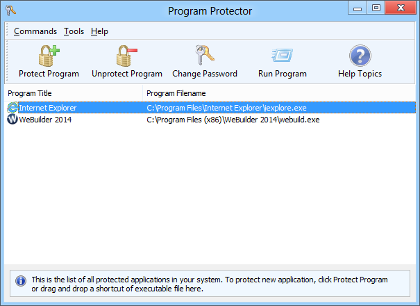 Program Protector is unique, state of art security utility that allows you to password protect programs. You can password protect any Windows application. Program Protector is very easy to use and does not require any special computer knowledge.